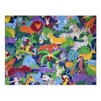 Animales coloridos de la selva postal