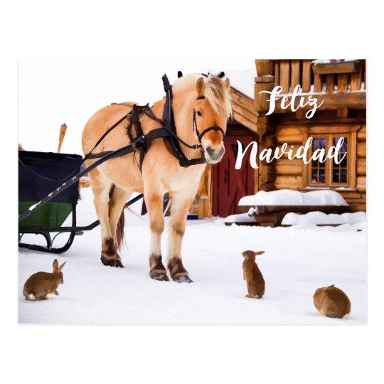 Animales de la nieve del idilio del país del postal
