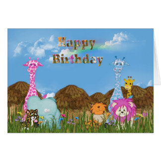 Animales de la selva del cumpleaños tarjeta de felicitación