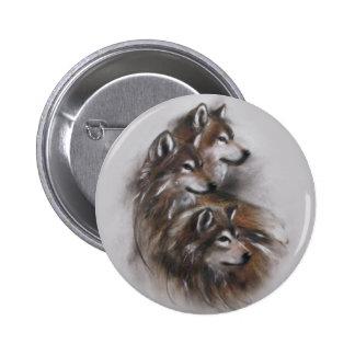 animales de los lobos del lobo, fauna, arte de la chapa redonda de 5 cm