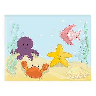 Animales de mar lindos postal