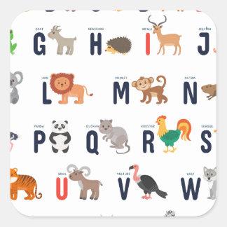 ¡Animales del alfabeto - lindo estupendo! Pegatina Cuadrada