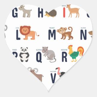 ¡Animales del alfabeto - lindo estupendo! Pegatina En Forma De Corazón