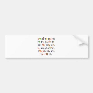 ¡Animales del alfabeto - lindo estupendo! Pegatina Para Coche