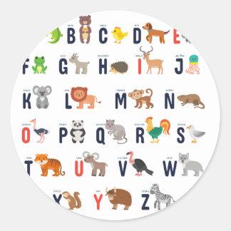¡Animales del alfabeto - lindo estupendo! Pegatina Redonda