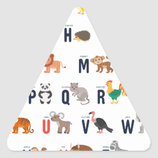 ¡Animales del alfabeto - lindo estupendo! Pegatina Triangular