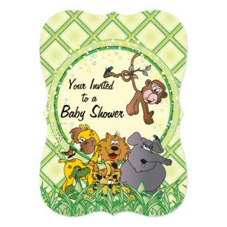Animales del bebé de la selva del safari invitación 12,7 x 17,8 cm