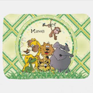 Animales del bebé de la selva del safari manta de bebé