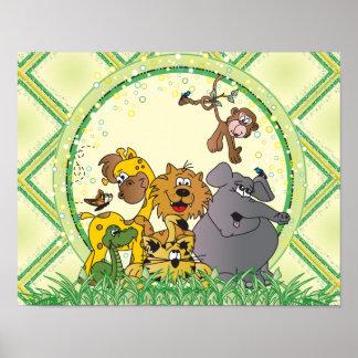 Animales del bebé de la selva del safari póster