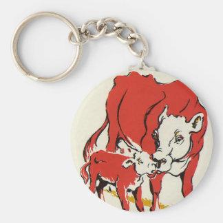 Animales del campo del vintage, mamá Cow con su Llavero Redondo Tipo Chapa