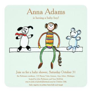 Animales del juguete para el bebé invitación 13,3 cm x 13,3cm