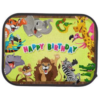 Animales del parque zoológico del feliz cumpleaños alfombrilla de coche