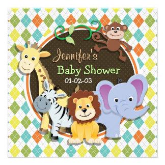 Animales del parque zoológico en Argyle colorido Invitacion Personalizada