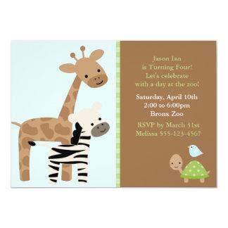 Animales del parque zoológico invitación 12,7 x 17,8 cm