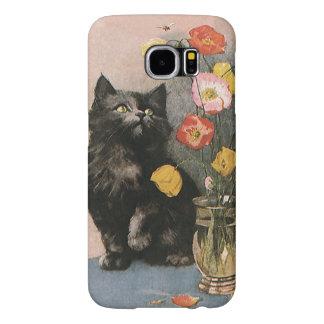 Animales del vintage, gatito lindo del Victorian y Funda Samsung Galaxy S6