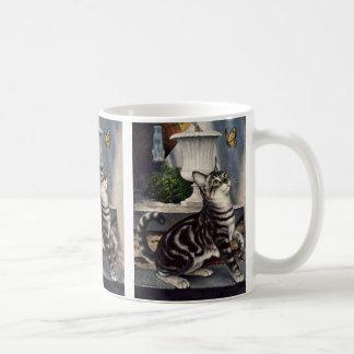 Animales del vintage, gato de Tabby lindo y Taza De Café