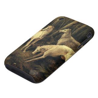 Animales del vintage, perros del galgo en el tough iPhone 3 carcasas