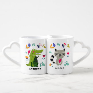 Animales divertidos en tazas del regalo del el día