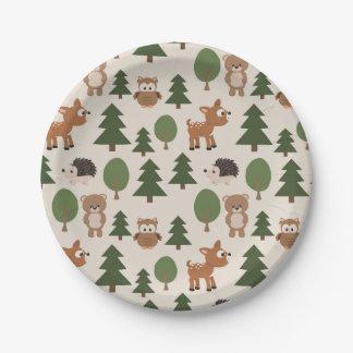 Animales en bosque plato de papel