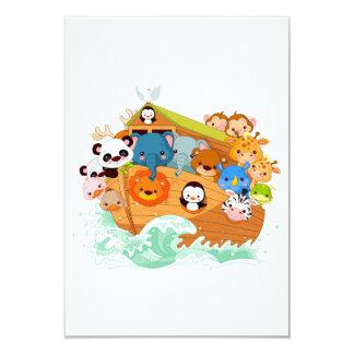 Animales en invitaciones del arte de Noahs Invitación 8,9 X 12,7 Cm