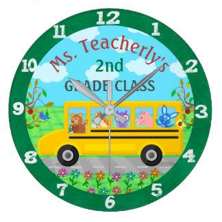 Animales lindos de la sala de clase del profesor reloj redondo grande