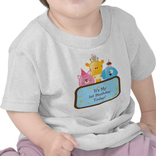 Animales lindos del cumpleaños del dibujo animado  camisetas
