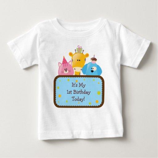 Animales lindos del cumpleaños del dibujo animado camiseta de bebé
