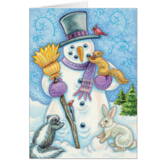 Animales lindos del navidad que construyen un tarjeta