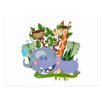 Animales lindos del safari tarjetas postales