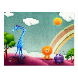 Animales peludos coloridos del safari postal
