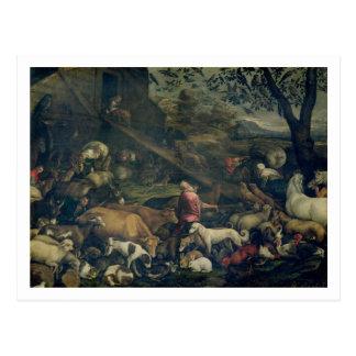 Animales que entran en la arca (aceite en lona) postal