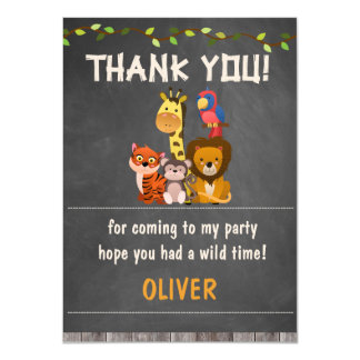 Animales salvajes BirthdayThank del safari que Invitación 11,4 X 15,8 Cm