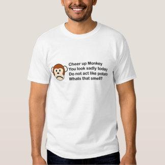 Anime para arriba, mono triste camisetas