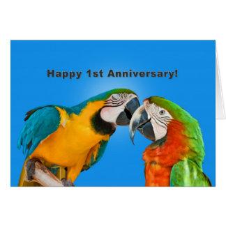 Aniversario, 1r, loros cariñosos tarjeta de felicitación