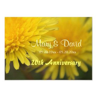 Aniversario amarillo bonito del diente de león de invitación 11,4 x 15,8 cm