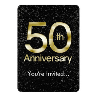 Aniversario atractivo del oro 50.o invitación 12,7 x 17,8 cm