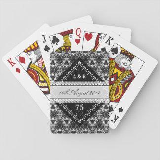 Aniversario blanco (3, 12, 13 60, 75 años) barajas de cartas