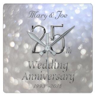 Aniversario Bokeh del aniversario de bodas de Reloj Cuadrado