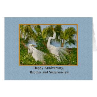 Aniversario, Brother y cuñada, Egrets Tarjeta De Felicitación