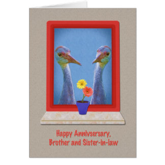 Aniversario, Brother y cuñada, pájaro de la grúa Tarjeta De Felicitación