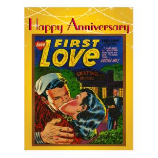 Aniversario cómico del vintage de la cubierta del postal