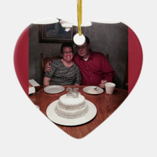 aniversario de 25 años adorno de cerámica en forma de corazón