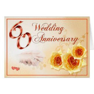 Aniversario de boda 60 tarjeta de felicitación