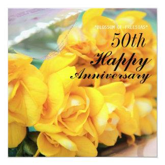 Aniversario de boda amarillo de los Freesias 50.os Invitación 13,3 Cm X 13,3cm