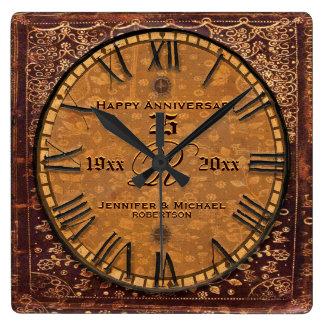 Aniversario de boda antiguo del vintage reloj cuadrado