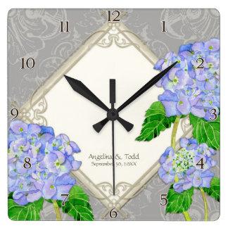 Aniversario de boda azul del Hydrangea del remolin Reloj Cuadrado