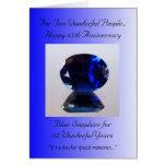 Aniversario de boda azul del zafiro 65.o tarjeta