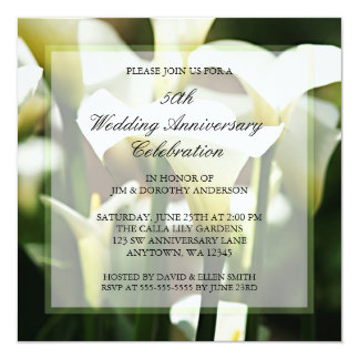 Aniversario de boda blanco de la cala 50.a invitación 13,3 cm x 13,3cm