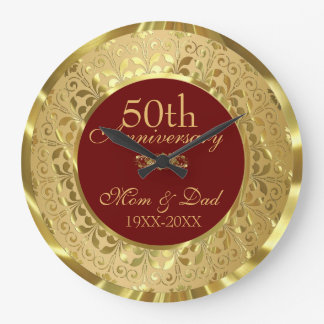 Aniversario de boda chispeante del damasco 50.o reloj redondo grande
