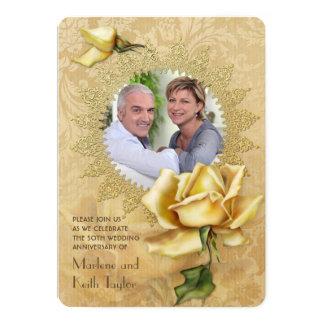 Aniversario de boda color de rosa de oro del invitación 12,7 x 17,8 cm